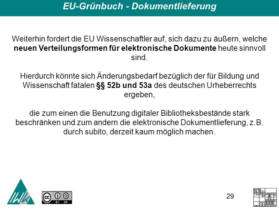 29 EU-Grünbuch - Dokumentlieferung Weiterhin fordert die EU Wissenschaftler auf, sich dazu zu äußern, welche neuen Verteilungsformen für elektronische Dokumente heute sinnvoll sind.