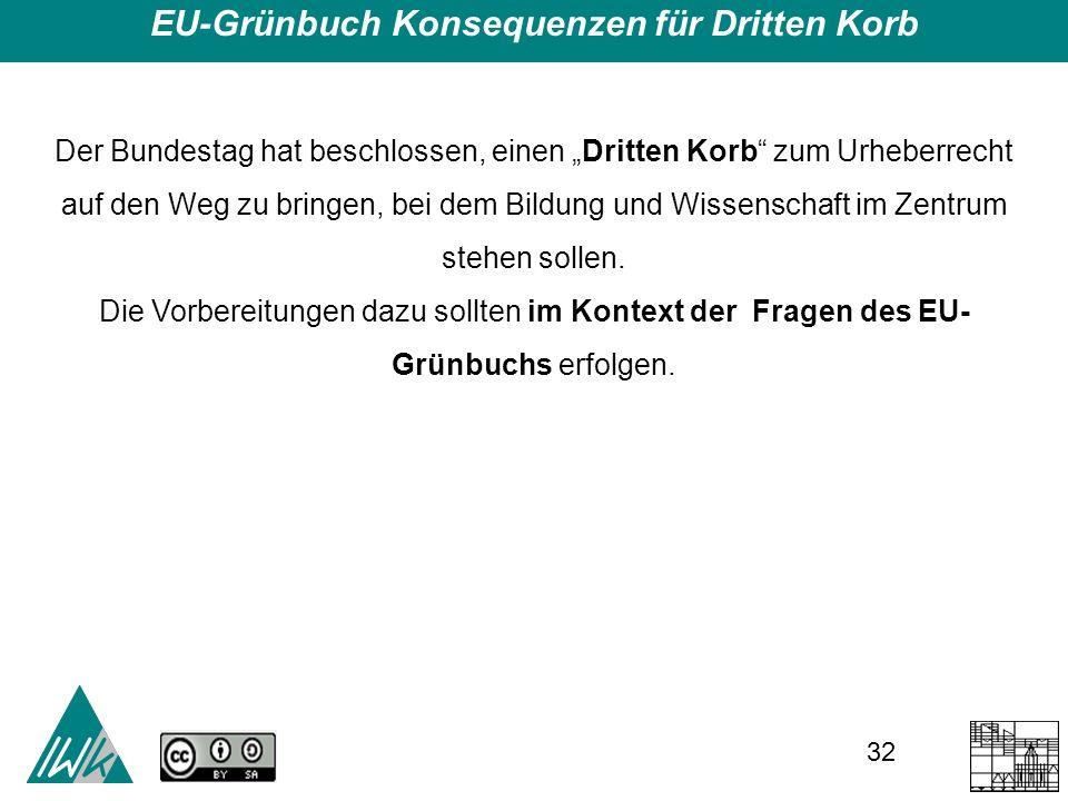 32 EU-Grünbuch Konsequenzen für Dritten Korb Der Bundestag hat beschlossen, einen Dritten Korb zum Urheberrecht auf den Weg zu bringen, bei dem Bildung und Wissenschaft im Zentrum stehen sollen.