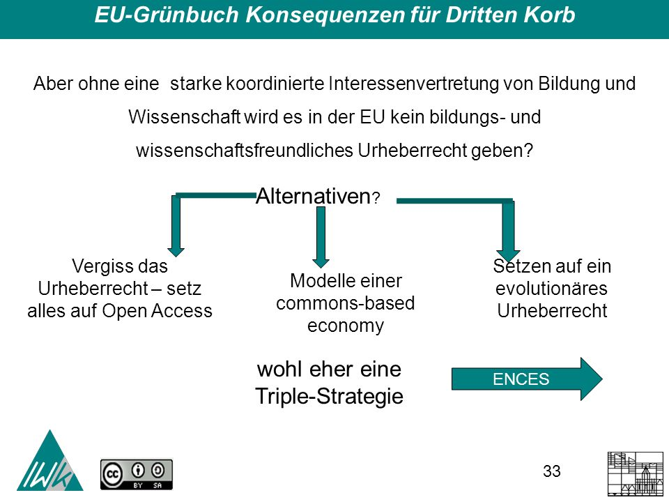 33 EU-Grünbuch Konsequenzen für Dritten Korb Aber ohne eine starke koordinierte Interessenvertretung von Bildung und Wissenschaft wird es in der EU kein bildungs- und wissenschaftsfreundliches Urheberrecht geben.