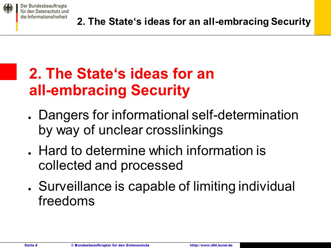 Seite 4 © Bundesbeauftragter für den Datenschutzhttp://www.bfd.bund.de Dangers for informational self-determination by way of unclear crosslinkings Ha