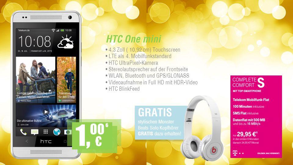 HTC One mini 4,3 Zoll ( 10,92 cm) Touchscreen LTE als 4.