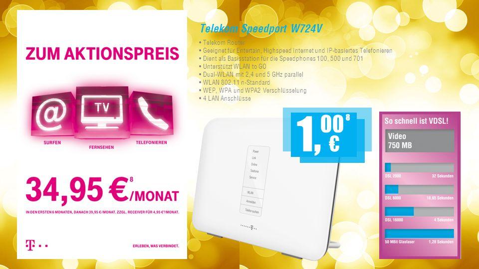 Telekom Speedport W724V Telekom Router Geeignet für Entertain, Highspeed Internet und IP-basiertes Telefonieren Dient als Basisstation für die Speedphones 100, 500 und 701 Unterstützt WLAN to GO Dual-WLAN mit 2,4 und 5 GHz parallel WLAN 802.11 n-Standard WEP, WPA und WPA2 Verschlüsselung 4 LAN Anschlüsse 8 1, 00