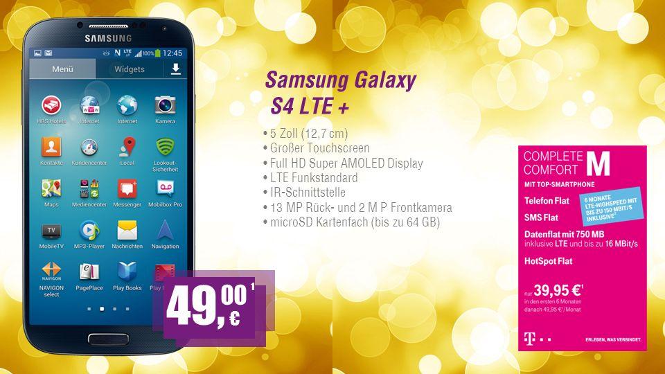 Samsung Galaxy S4 LTE + 5 Zoll (12,7 cm) Großer Touchscreen Full HD Super AMOLED Display LTE Funkstandard IR-Schnittstelle 13 MP Rück- und 2 M P Frontkamera microSD Kartenfach (bis zu 64 GB) 1 49, 00
