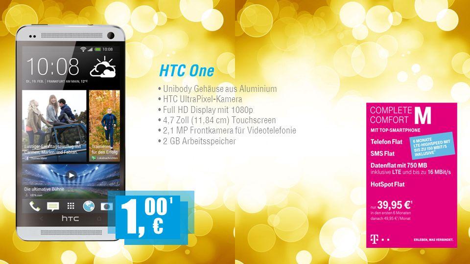 HTC One Unibody Gehäuse aus Aluminium HTC UltraPixel-Kamera Full HD Display mit 1080p 4,7 Zoll (11,84 cm) Touchscreen 2,1 MP Frontkamera für Videotelefonie 2 GB Arbeitsspeicher 1 1, 00