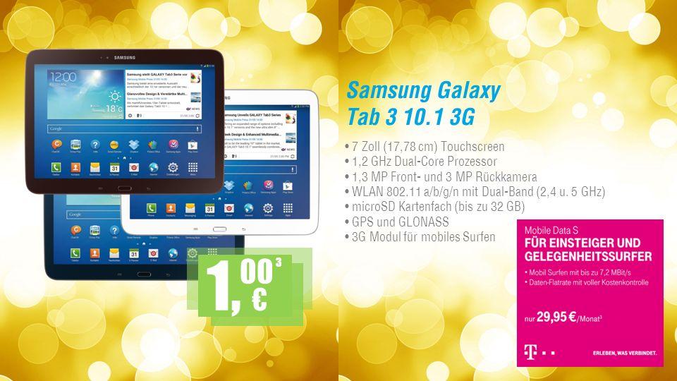 Samsung Galaxy Tab 3 10.1 3G 7 Zoll (17,78 cm) Touchscreen 1,2 GHz Dual-Core Prozessor 1,3 MP Front- und 3 MP Rückkamera WLAN 802.11 a/b/g/n mit Dual-Band (2,4 u.