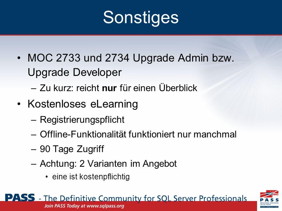 Sonstiges MOC 2733 und 2734 Upgrade Admin bzw.