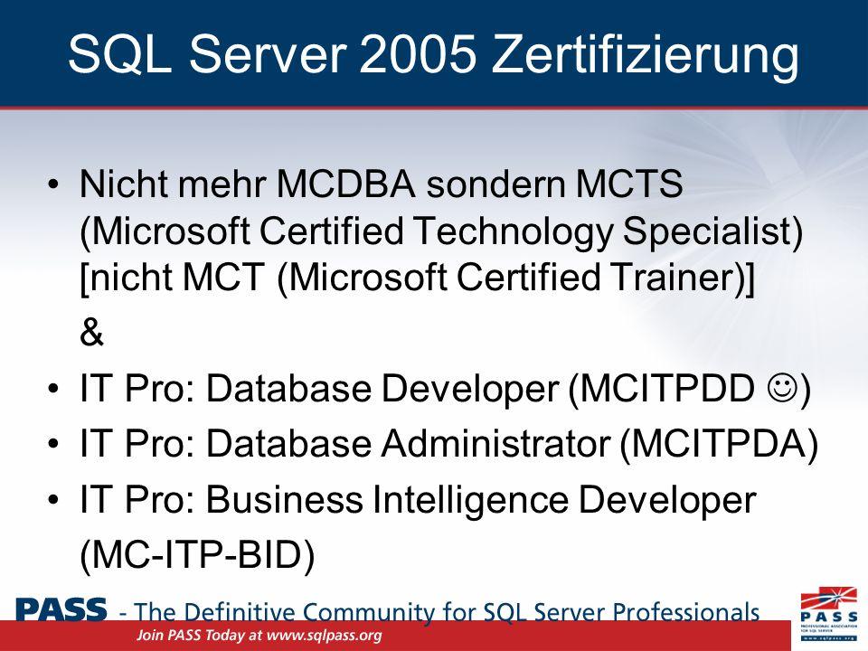 Zertifizierungen, Prüfungen & MOC I MCTS SQL Server 2005 –1.