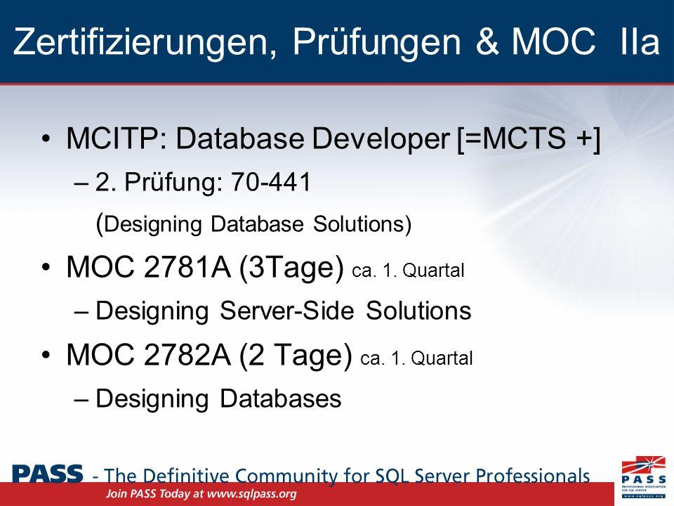 Zertifizierungen, Prüfungen & MOC IIb MCITP: Database Developer [=MCTS +] –3.