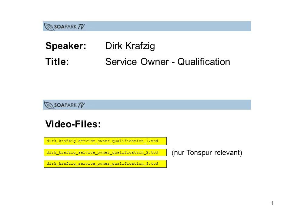 12 News Dirk Krafzig stellt in seinem Videobeitrag Service Owner - Qualification die Fähigkeiten vor, die ein Service Owner mitbringen muss, um seine Arbeit erfolgreich ausfüllen zu können.