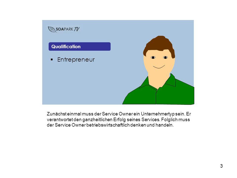 4 Entrepreneur Committed Qualification Außerdem muss der Service Owner sich für sein Unternehmen engagieren.
