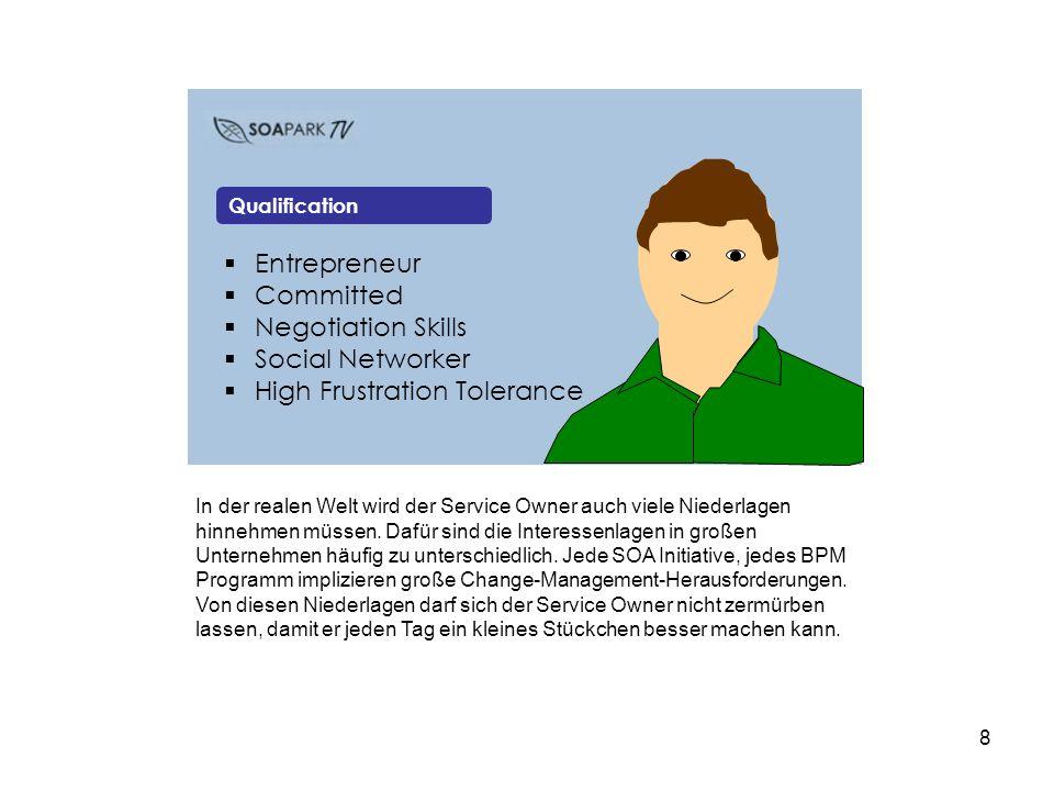 8 Entrepreneur Committed Negotiation Skills Social Networker High Frustration Tolerance Qualification In der realen Welt wird der Service Owner auch viele Niederlagen hinnehmen müssen.