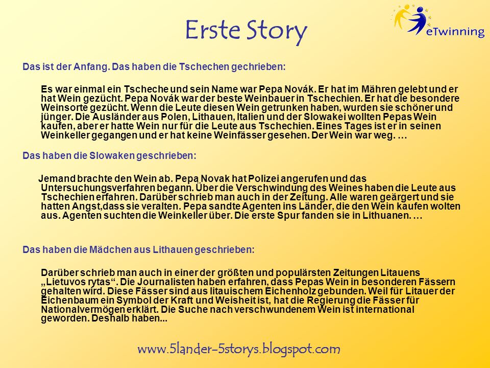 www.5lander-5storys.blogspot.com Erste Story Das ist der Anfang.