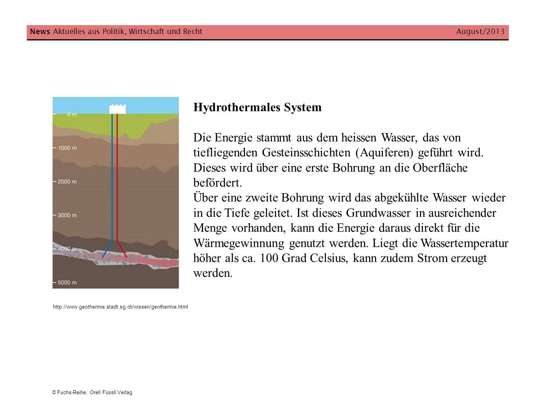 Hydrothermales System Die Energie stammt aus dem heissen Wasser, das von tiefliegenden Gesteinsschichten (Aquiferen) geführt wird. Dieses wird über ei