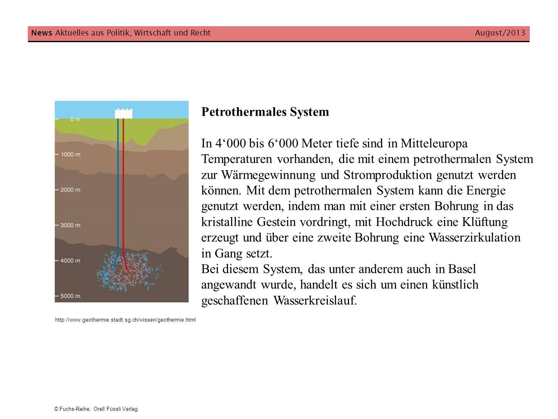 Petrothermales System In 4000 bis 6000 Meter tiefe sind in Mitteleuropa Temperaturen vorhanden, die mit einem petrothermalen System zur Wärmegewinnung