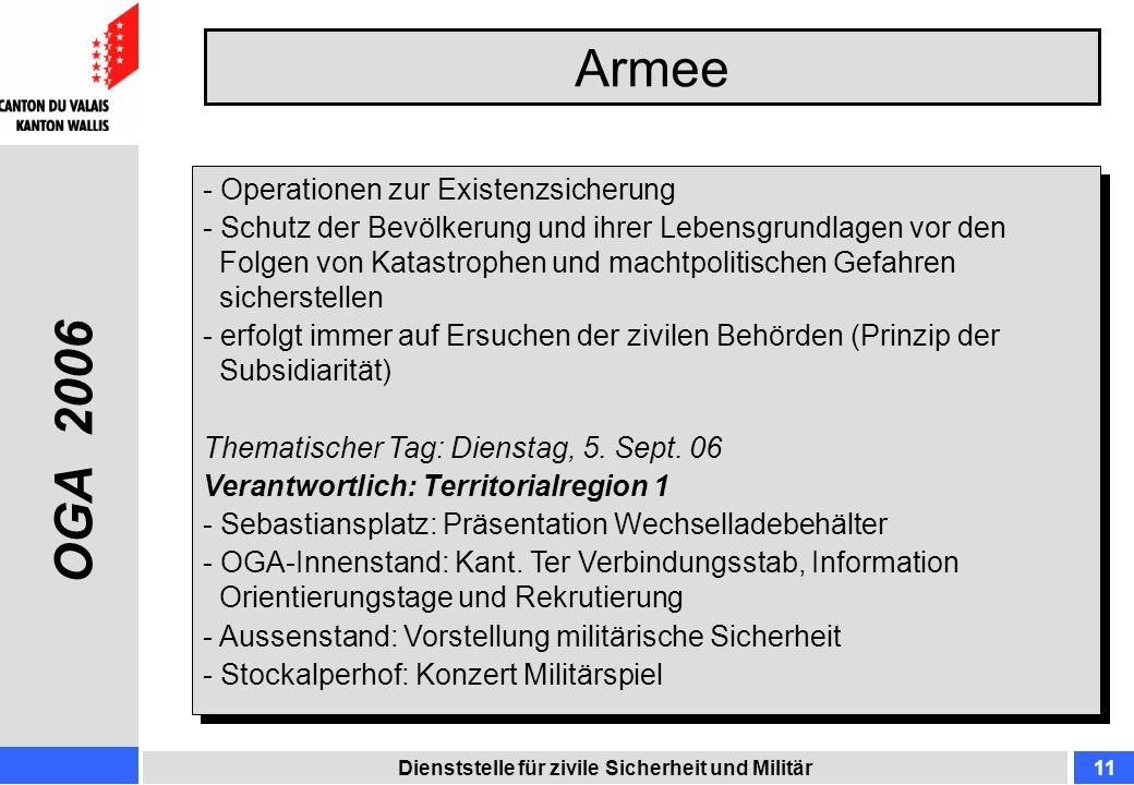 Armee Dienststelle für zivile Sicherheit und Militär11 - Operationen zur Existenzsicherung - Schutz der Bevölkerung und ihrer Lebensgrundlagen vor den