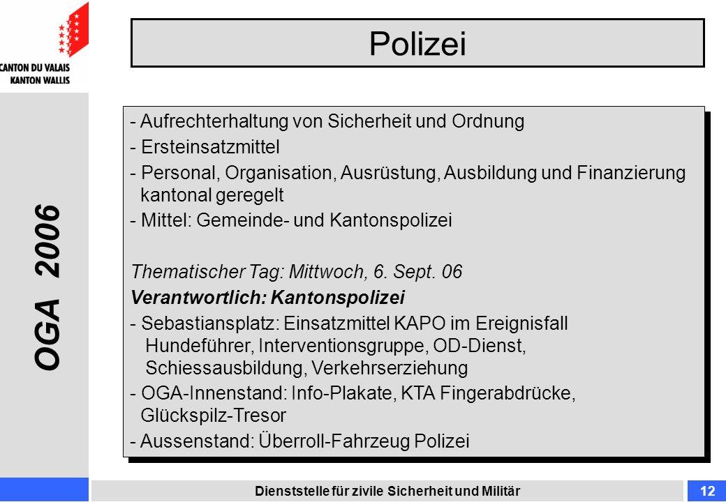 Polizei Dienststelle für zivile Sicherheit und Militär12 - Aufrechterhaltung von Sicherheit und Ordnung - Ersteinsatzmittel - Personal, Organisation,