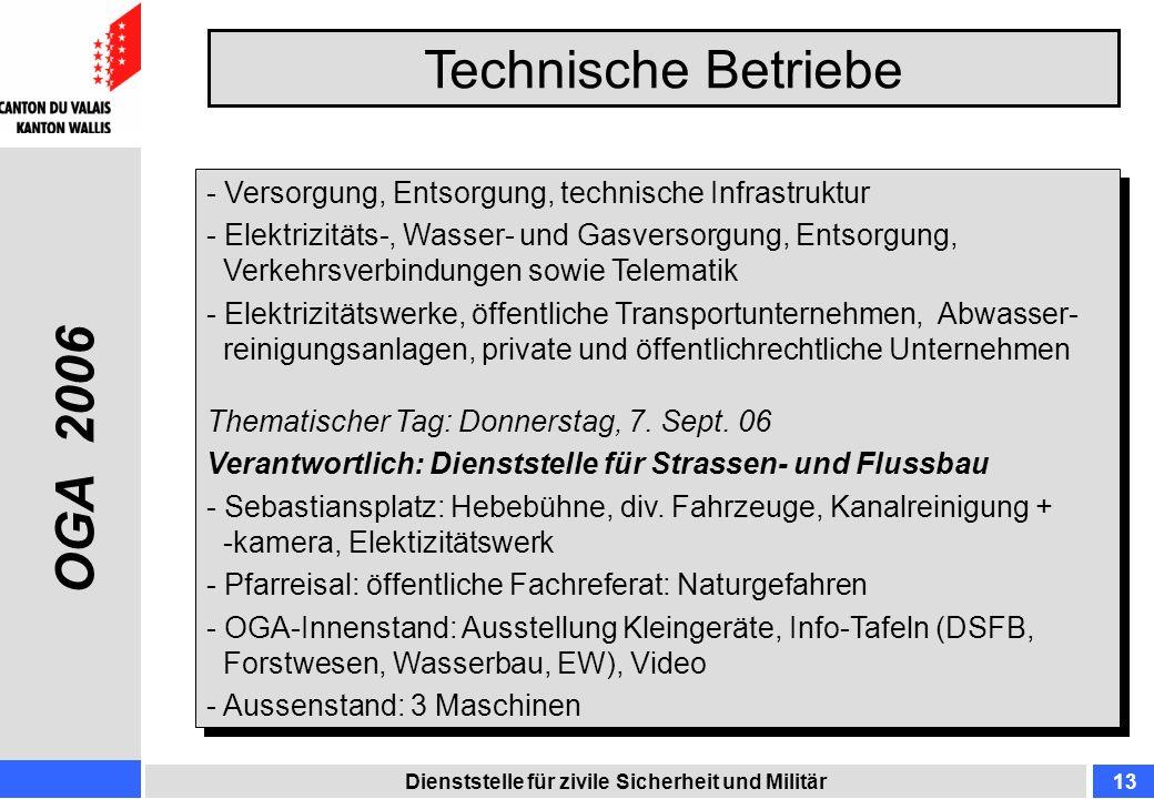 Technische Betriebe Dienststelle für zivile Sicherheit und Militär13 - Versorgung, Entsorgung, technische Infrastruktur - Elektrizitäts-, Wasser- und