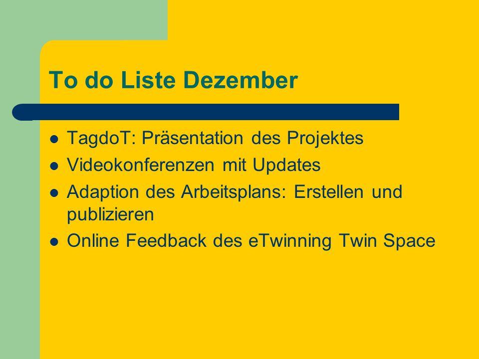 To do Liste Dezember TagdoT: Präsentation des Projektes Videokonferenzen mit Updates Adaption des Arbeitsplans: Erstellen und publizieren Online Feedback des eTwinning Twin Space