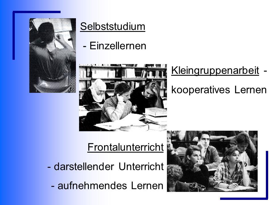 Selbststudium - Einzellernen Frontalunterricht - darstellender Unterricht - aufnehmendes Lernen Kleingruppenarbeit - kooperatives Lernen