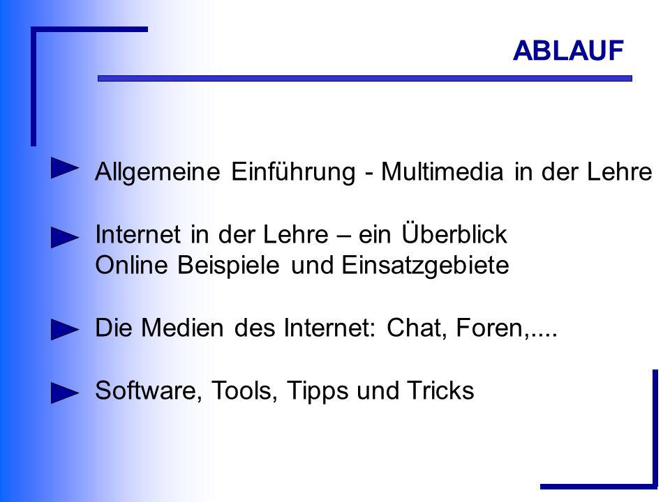 Allgemeine Einführung - Multimedia in der Lehre Internet in der Lehre – ein Überblick Online Beispiele und Einsatzgebiete Die Medien des Internet: Chat, Foren,....