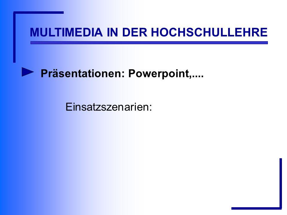 MULTIMEDIA IN DER HOCHSCHULLEHRE Präsentationen: Powerpoint,.... Einsatzszenarien: Voraussetzungen: