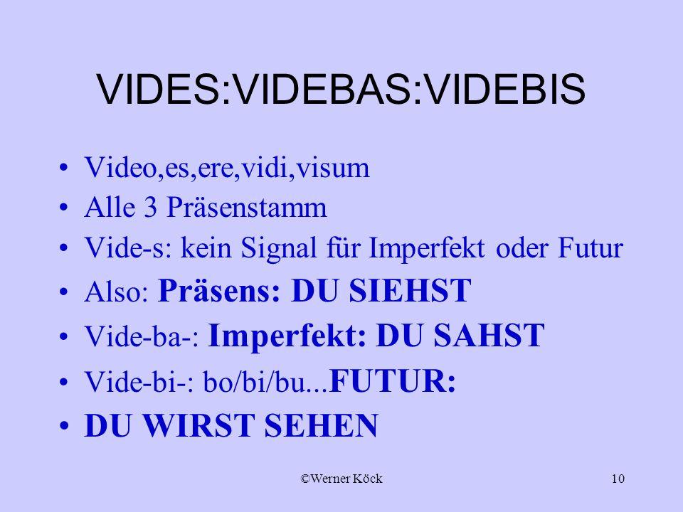 ©Werner Köck10 VIDES:VIDEBAS:VIDEBIS Video,es,ere,vidi,visum Alle 3 Präsenstamm Vide-s: kein Signal für Imperfekt oder Futur Also: Präsens: DU SIEHST Vide-ba-: Imperfekt: DU SAHST Vide-bi-: bo/bi/bu...