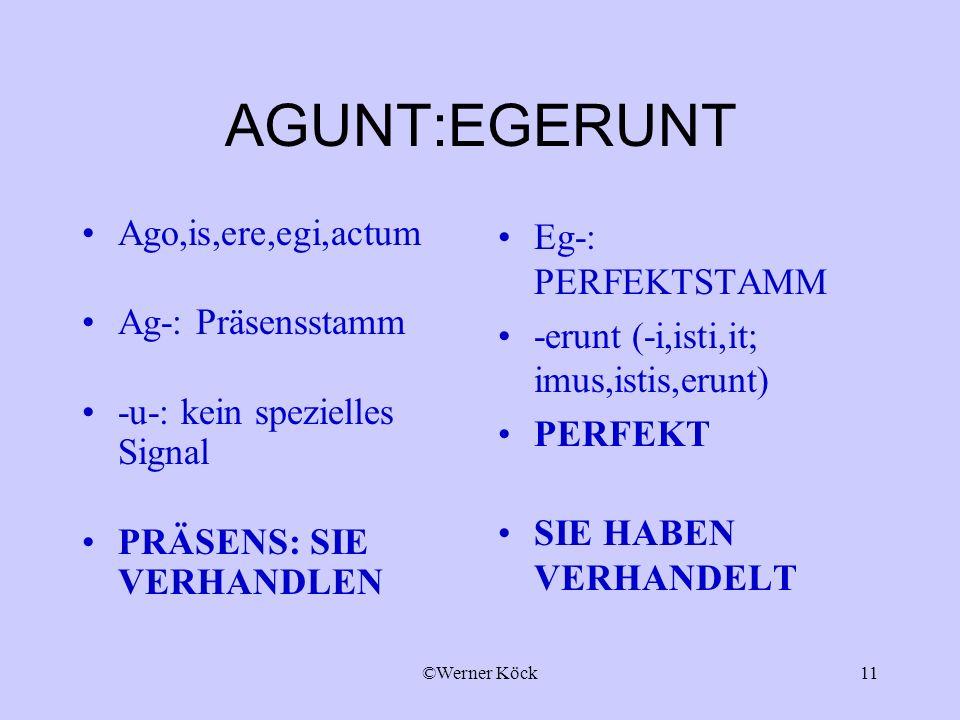 ©Werner Köck11 AGUNT:EGERUNT Ago,is,ere,egi,actum Ag-: Präsensstamm -u-: kein spezielles Signal PRÄSENS: SIE VERHANDLEN Eg-: PERFEKTSTAMM -erunt (-i,isti,it; imus,istis,erunt) PERFEKT SIE HABEN VERHANDELT