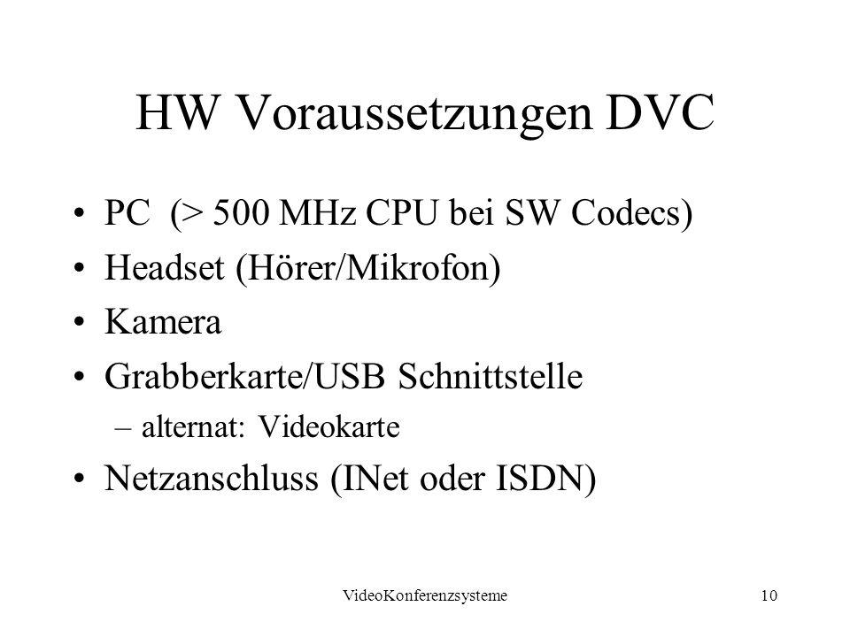 VideoKonferenzsysteme10 HW Voraussetzungen DVC PC (> 500 MHz CPU bei SW Codecs) Headset (Hörer/Mikrofon) Kamera Grabberkarte/USB Schnittstelle –alternat: Videokarte Netzanschluss (INet oder ISDN)