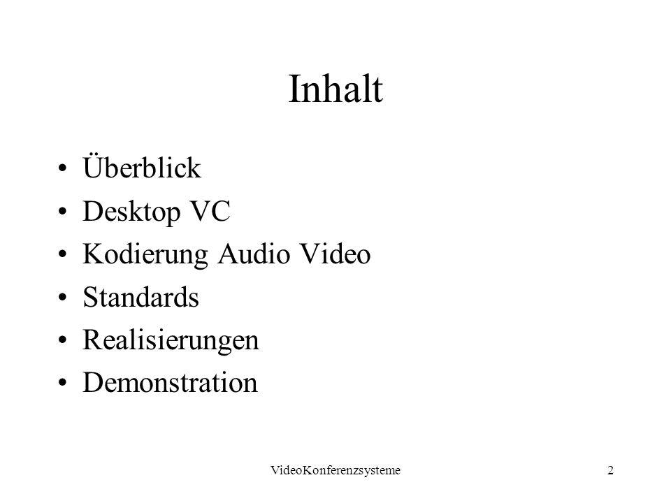 VideoKonferenzsysteme3 Was ist VC audio-visuelle Realzeitkommunikation (geringe Verzögerungen < 300ms) symmetrisch (Teilnehmer hören und sprechen, sehen und werden gesehen)