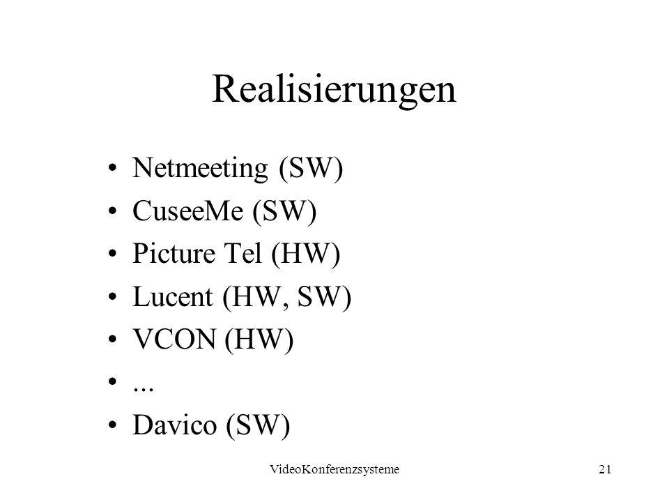 VideoKonferenzsysteme21 Realisierungen Netmeeting (SW) CuseeMe (SW) Picture Tel (HW) Lucent (HW, SW) VCON (HW)...