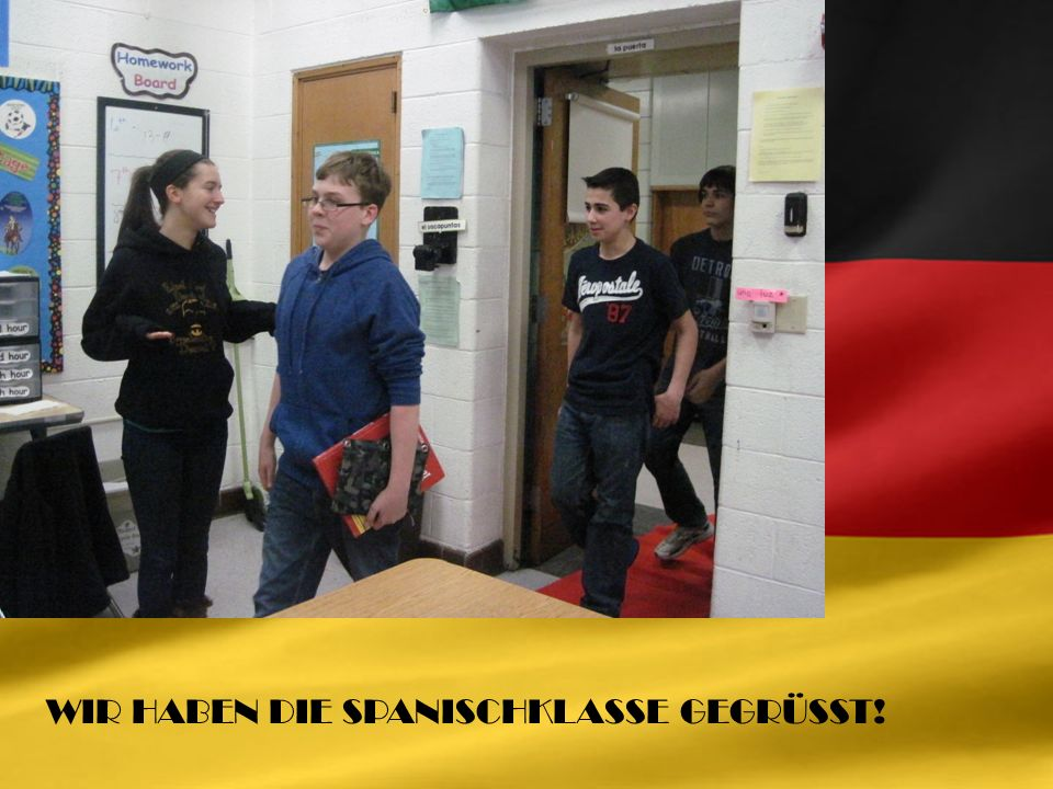 TO PROMOTE GERMAN CULTURE THIS YEAR, THE EDSEL FORD DEUTSCH PROGRAM WENT TO AN 8 TH GRADE SPANISH CLASS TO INFLUENCE FUTURE GERMAN STUDENTS.