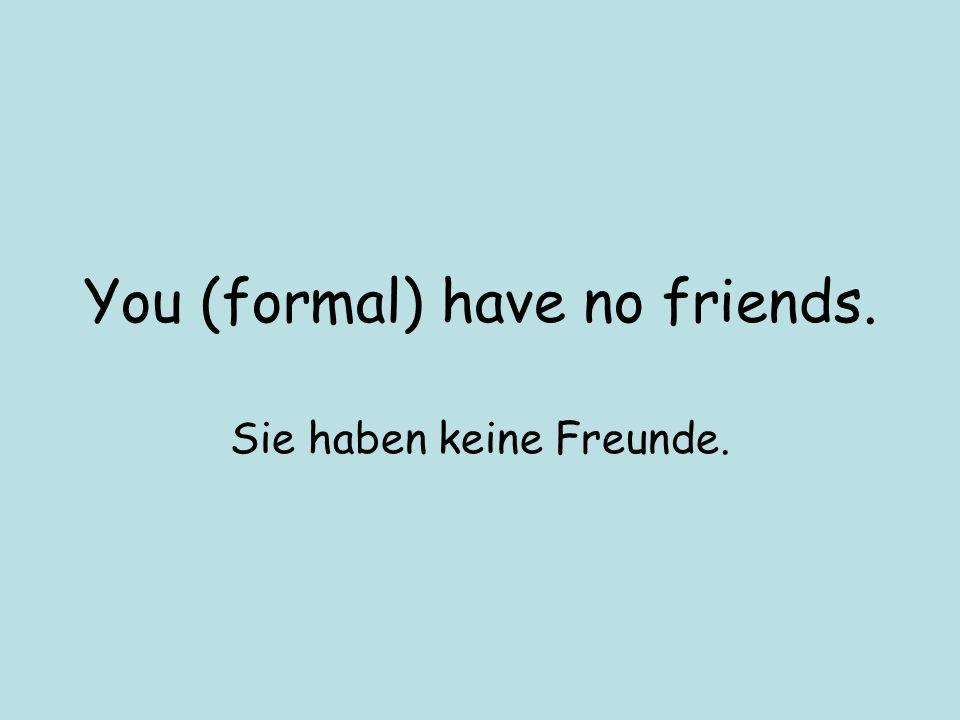 You (formal) have no friends. Sie haben keine Freunde.