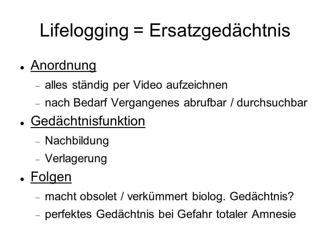 Lifelogging = Ersatzgedächtnis Anordnung alles ständig per Video aufzeichnen nach Bedarf Vergangenes abrufbar / durchsuchbar Gedächtnisfunktion Nachbildung Verlagerung Folgen macht obsolet / verkümmert biolog.