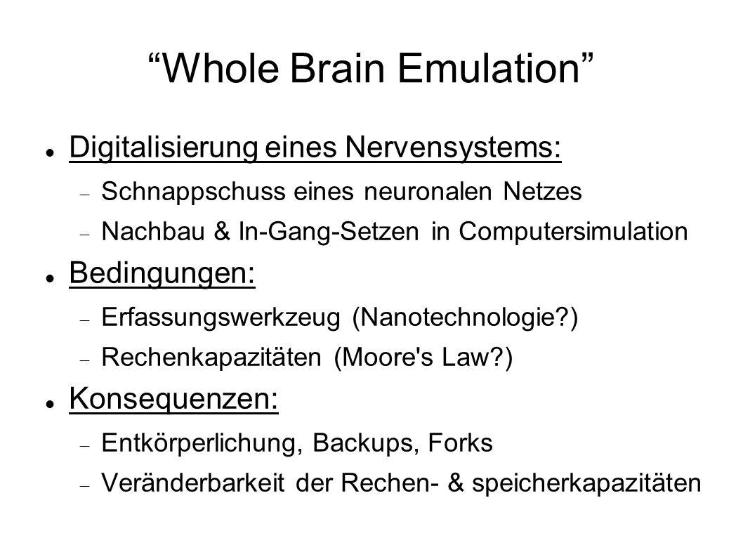 Whole Brain Emulation Digitalisierung eines Nervensystems: Schnappschuss eines neuronalen Netzes Nachbau & In-Gang-Setzen in Computersimulation Bedingungen: Erfassungswerkzeug (Nanotechnologie?) Rechenkapazitäten (Moore s Law?) Konsequenzen: Entkörperlichung, Backups, Forks Veränderbarkeit der Rechen- & speicherkapazitäten