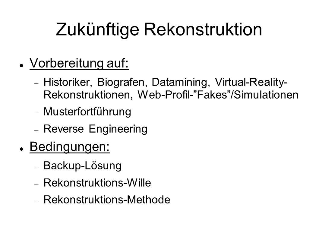 Zukünftige Rekonstruktion Vorbereitung auf: Historiker, Biografen, Datamining, Virtual-Reality- Rekonstruktionen, Web-Profil-Fakes/Simulationen Musterfortführung Reverse Engineering Bedingungen: Backup-Lösung Rekonstruktions-Wille Rekonstruktions-Methode