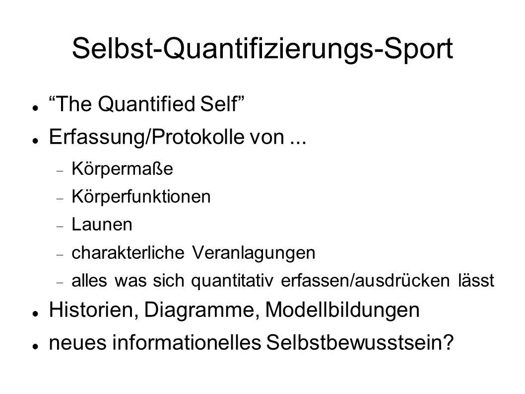 Selbst-Quantifizierungs-Sport The Quantified Self Erfassung/Protokolle von...