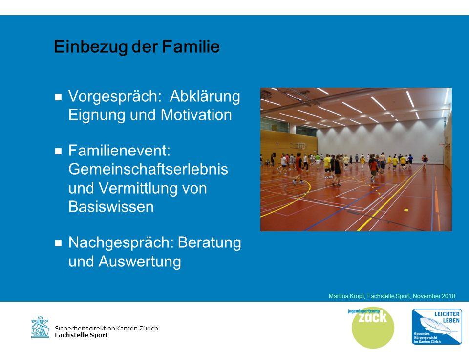 Sicherheitsdirektion Kanton Zürich Fachstelle Sport Body Mass Index Ein Jahr nach dem ZACK hatten zehn Teilnehmende einen tieferen BMI als vor dem ZACK (n=12) Martina Kropf, Fachstelle Sport, November 2010