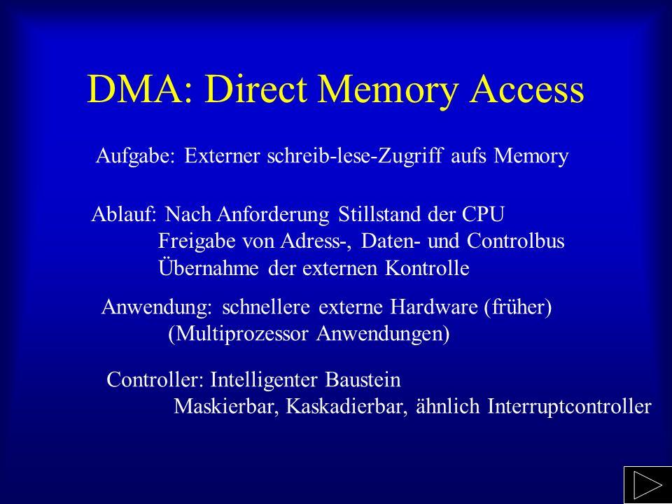 DMA: Direct Memory Access Aufgabe: Externer schreib-lese-Zugriff aufs Memory Ablauf: Nach Anforderung Stillstand der CPU Freigabe von Adress-, Daten-