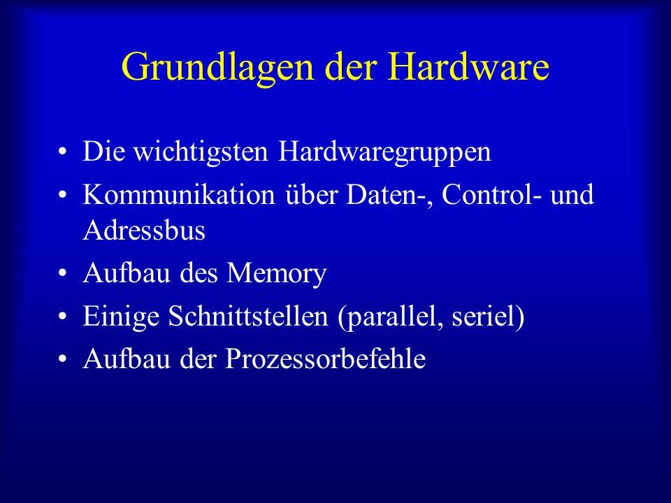 Grundlagen der Hardware Die wichtigsten Hardwaregruppen Kommunikation über Daten-, Control- und Adressbus Aufbau des Memory Einige Schnittstellen (par