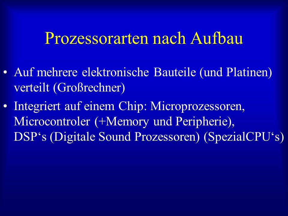 Prozessorarten nach Aufbau Auf mehrere elektronische Bauteile (und Platinen) verteilt (Großrechner) Integriert auf einem Chip: Microprozessoren, Micro