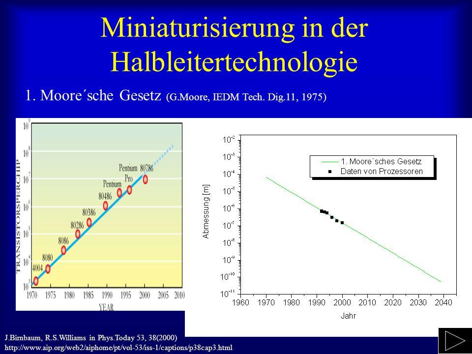 Miniaturisierung in der Halbleitertechnologie 1. Moore´sche Gesetz (G.Moore, IEDM Tech. Dig.11, 1975) J.Birnbaum, R.S.Williams in Phys.Today 53, 38(20