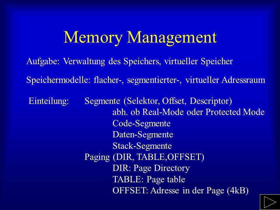 Memory Management Aufgabe: Verwaltung des Speichers, virtueller Speicher Einteilung: Segmente (Selektor, Offset, Descriptor) abh. ob Real-Mode oder Pr