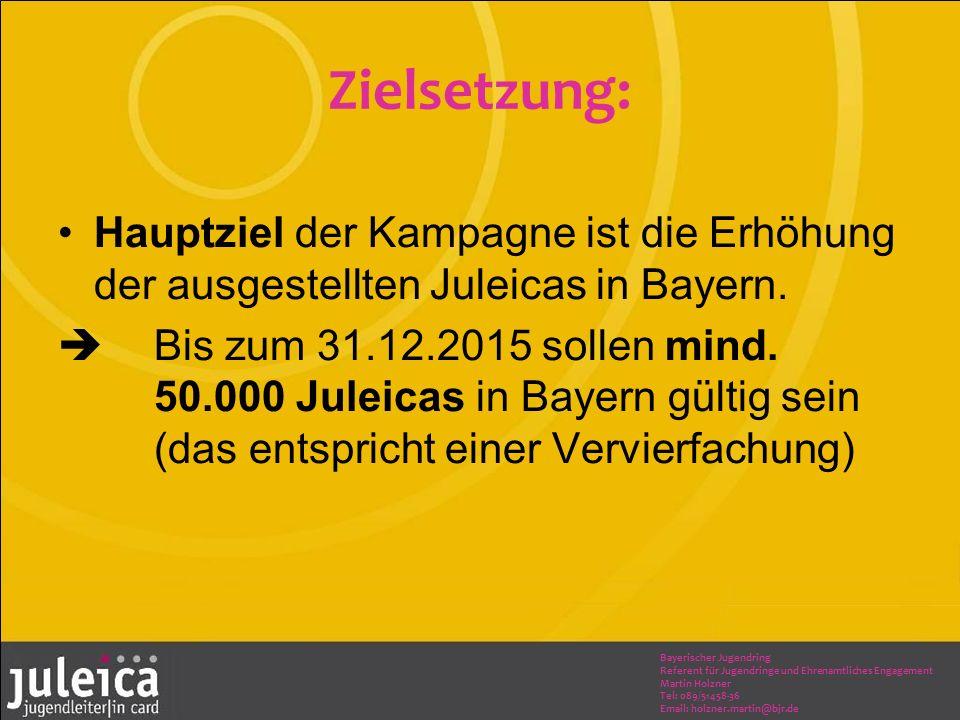 Bayerischer Jugendring Referent für Jugendringe und Ehrenamtliches Engagement Martin Holzner Tel: 089/51458-36 Email: holzner.martin@bjr.de Zielsetzung: Hauptziel der Kampagne ist die Erhöhung der ausgestellten Juleicas in Bayern.