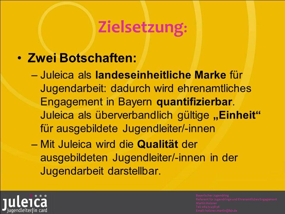 Bayerischer Jugendring Referent für Jugendringe und Ehrenamtliches Engagement Martin Holzner Tel: 089/51458-36 Email: holzner.martin@bjr.de Zielsetzung : Zwei Botschaften: –Juleica als landeseinheitliche Marke für Jugendarbeit: dadurch wird ehrenamtliches Engagement in Bayern quantifizierbar.