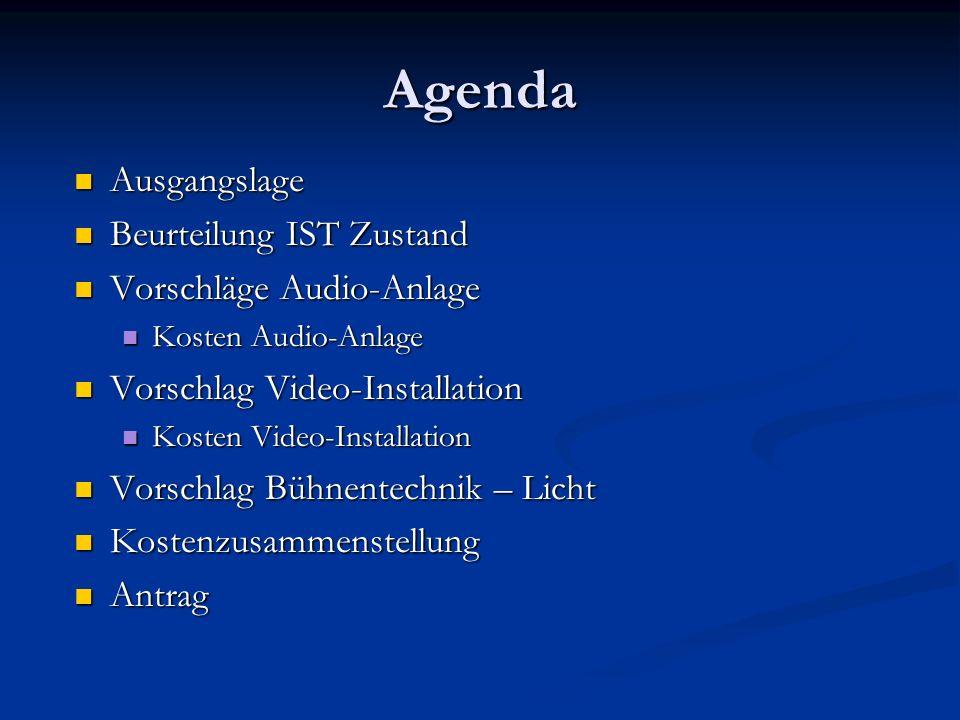 Agenda Ausgangslage Ausgangslage Beurteilung IST Zustand Beurteilung IST Zustand Vorschläge Audio-Anlage Vorschläge Audio-Anlage Kosten Audio-Anlage K