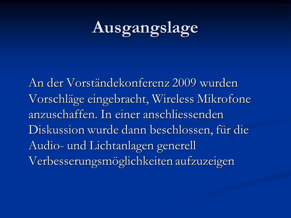 Ausgangslage An der Vorständekonferenz 2009 wurden Vorschläge eingebracht, Wireless Mikrofone anzuschaffen. In einer anschliessenden Diskussion wurde