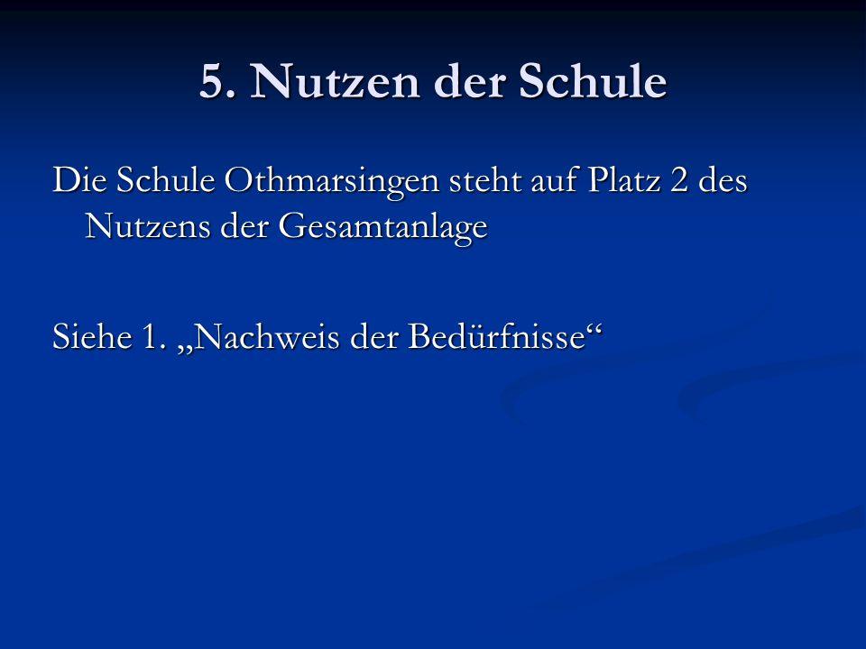 5. Nutzen der Schule Die Schule Othmarsingen steht auf Platz 2 des Nutzens der Gesamtanlage Siehe 1. Nachweis der Bedürfnisse