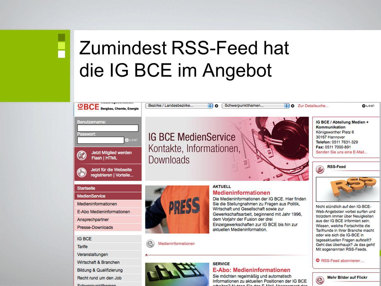 Zumindest RSS-Feed hat die IG BCE im Angebot