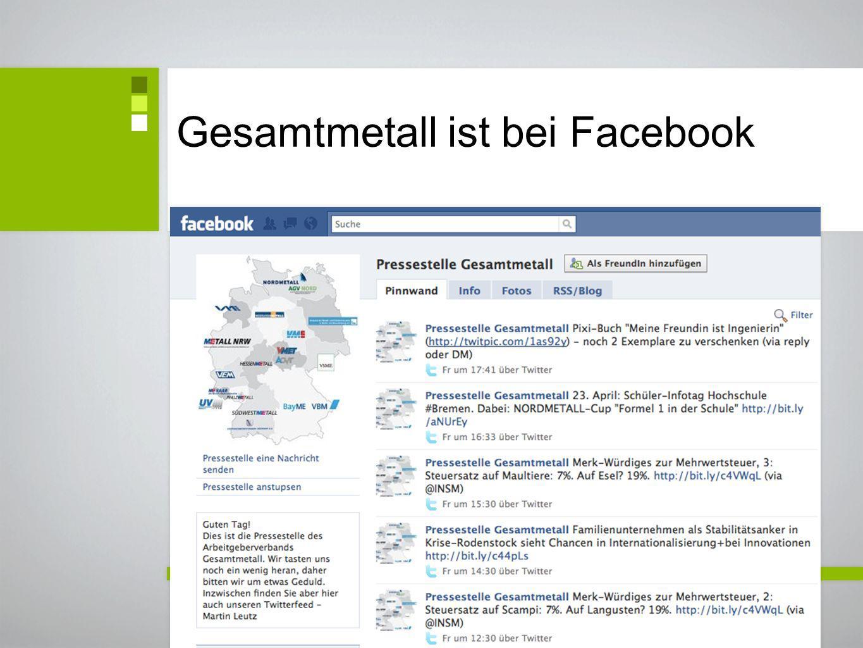 Gesamtmetall ist bei Facebook