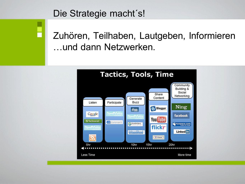 Die Strategie macht´s! Zuhören, Teilhaben, Lautgeben, Informieren …und dann Netzwerken.